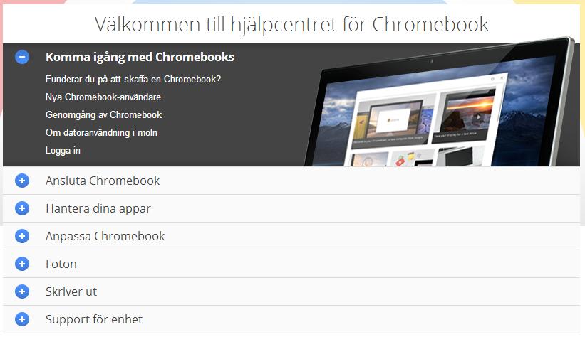 hjälpcenter chromebook